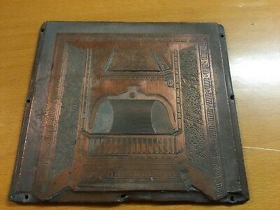 Antique  Printers Copper Plate - cast iron fireplace - approx 100 x 100mm - 416g