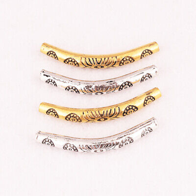 10pcs Gold Silver Bronze Floral Curved Spacer Bending Tube Beads Jewelry Craft