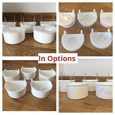 PLASTIC D CUPS Cage Feeder Pots With Hooks Aviary Bird Finch Canary
