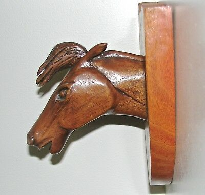 Vintage Hand Carved Horses Head Plaque  - by Russell Beckwith