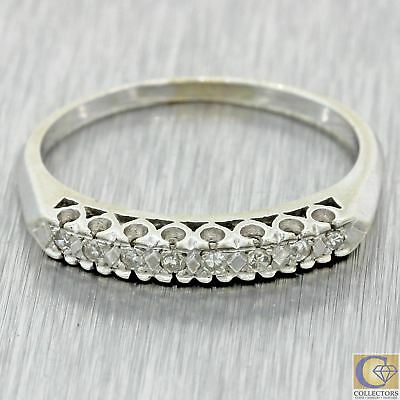 1940s Antique Vintage Estate 14k White Gold Diamond 3mm Band Ring J8