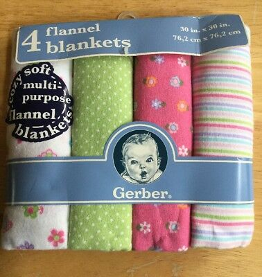 Gerber Flannel Receiving Blankets 4 Pack Girls NEW Baby Shower Gift Adorable