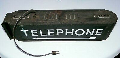 Vintage lighted Bell System Telephone sign black and white