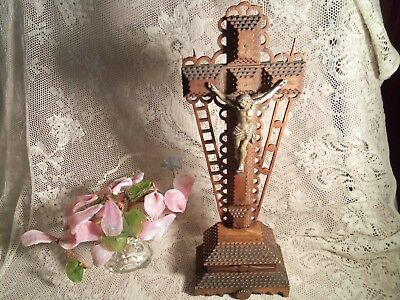 Antique Wooden Tramp Art Religious Cross-Metal Christ-New Mexico