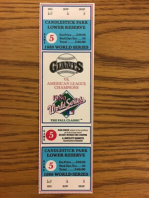 1989 GIANTS WORLD SERIES FULL TICKET Game 5 NR MINT Battle of Bay Earthquake A's