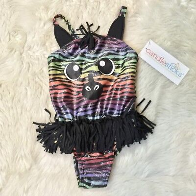 NWT Candlesticks Baby Girls Rainbow Zebra One Piece Bathing Swim Suit 24 Months