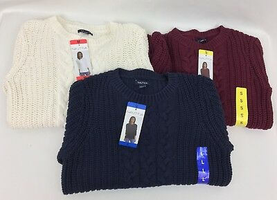 New Nautica Women's Long Sleeve Cable Knit Sweater Variety S M L XL XXL