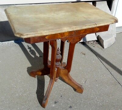 """Antique Victorian 1880 White Marble 29"""" Top Burl Panel Oak End Island Hall Table"""