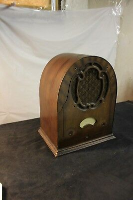 Vintage Antique Cathedral tube radio wood cabinet case ONLY