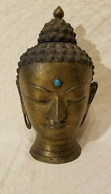 """Excellent LARGE antique Buddha Head, heavy 14"""" NEPALESE? THAI?"""