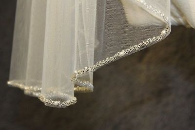 White Ivory Champagne one layer Wedding Veil beaded Edge Bridal Veil Fingertip