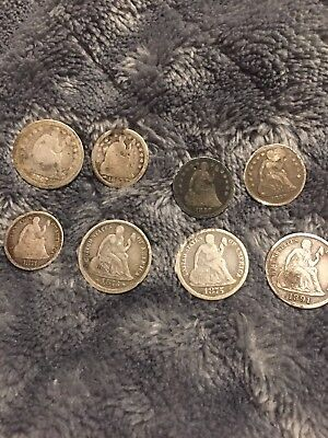 seated liberty dime lot (8 Coins) F-VF Condition