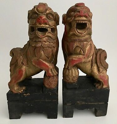 """10"""" Pair Antique Chinese Red Gold Gilt Wood Carved Foo Dog Guardian Lion Buddha"""