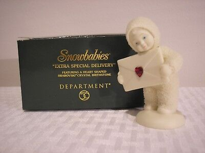 """Dept 56 Snowbabies """"Extra Special Delivery"""" January Garnet Heart Shaped Stone"""