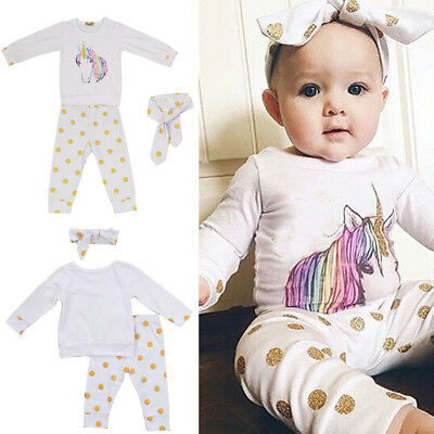 Unicorn 3PCS Newborn Baby Girl Boy Tops Romper +Long Pants Outfits Clothes Set