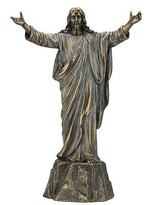 Jesus with open arms standing on Rock Statue Figures Sculpture Ship Immediately