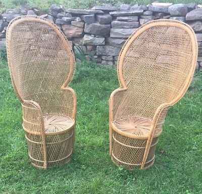 Vintage Wicker High Back Fan Peacock Rattan Chair Excellent Condition