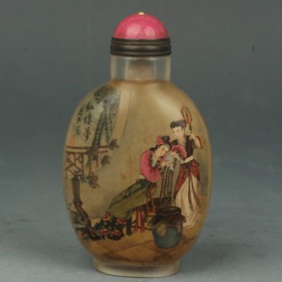 Chinese Handmade Ancient beauty pattern Glass Inside painting snuff bottle