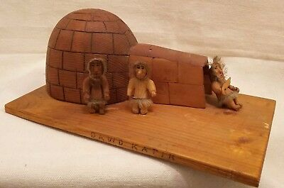 Signed 1930's Inuit Wood Carving Making An Igloo David Katik L'annonciation Que