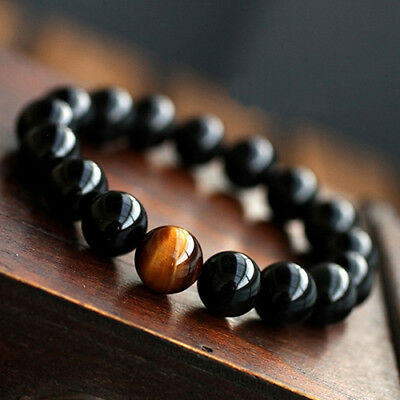 Men's Women's Vintage Jewelry Agate Tiger Eye Beads Bangle Bracelet US Flowery