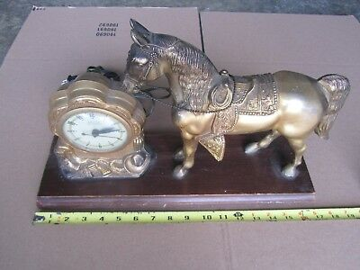 Antique Brass Horse United Clock Mantle Statue WORKS! Vintage Wood Base Old