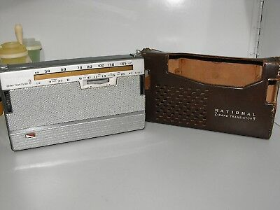 Rare Vintage National 2 Band 9 Transistor Radio Model AB-210 Working With Case