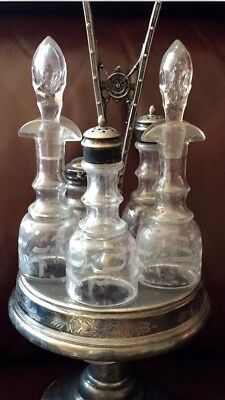 Vintage Reed & Barton 5pc Silver Plated Cruet Set W/Stand
