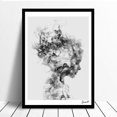 Modern Nordic Decor Black White Girl Poster Painting Wall Art Pictures Flowery