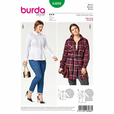 Burda 6488 Sewing Pattern Women's Blouse Tops Button Down Shirts Plus Size 18-28