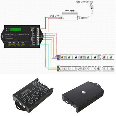 Programmable TC420 RGB LED Time Dimmer Controller+CD 5 Channels DC 12-24V 20A