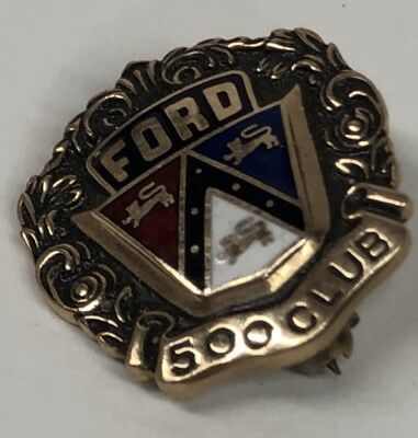 Ford 500 Club Vintage 10K Gold Enameled Pin