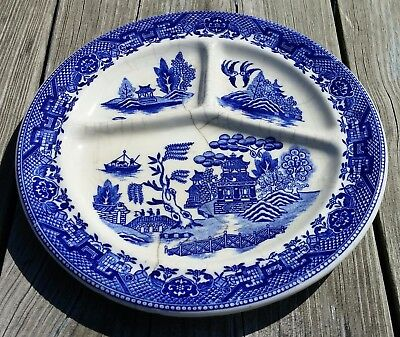 Vintage Moriyama Blue Willow Divided Grill Plate Occupied Japan