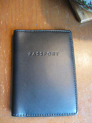 Mens COACH Smooth Black Leather Passport Wallet Holder-NEW!