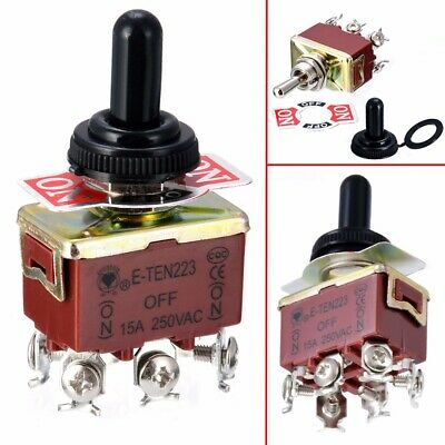 Toggle Switch 6 Pins DPDT 3 Position Momentary ON-OFF-ON Waterproof Cap 250V 15A