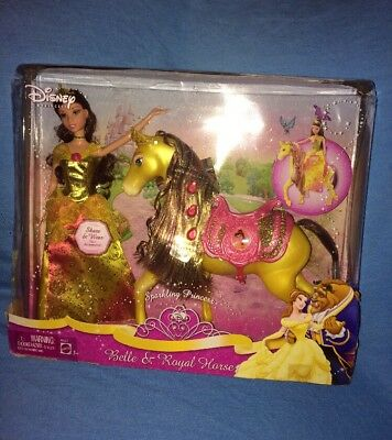 2008 Disney---Belle Sparking Princess Barbie Doll & Royal Horse--*NEW IN BOX*