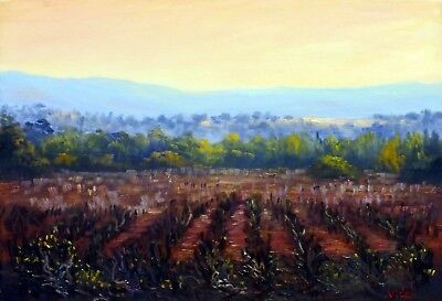 Original Australian Landscape Oil Painting winter sunset Hunter Valley Vineyards
