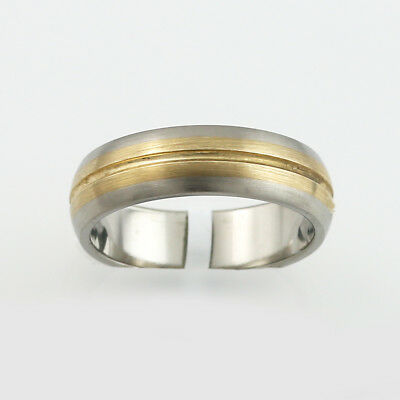 Titanium Ring (6mm) with 9ct. Yellow gold insert.