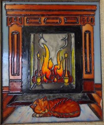 Antique Vintage? Large Faux Stained Slag Glass Cat Fireplace Hand Made Unique