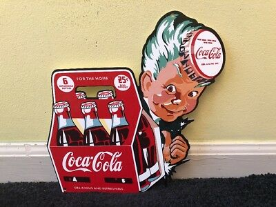 "Vintage Coca Cola Boy 6 Pack Of Bottles 25 Cents 11"" Metal Soda Pop Gas Oil Sign"