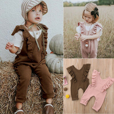 AU Stock Baby Girl Kid Ruffle Romper Overalls Long Pants Knitted Outfit Jumpsuit