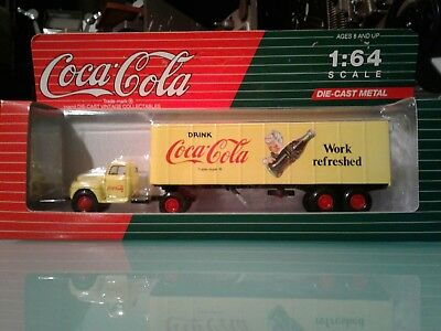 Coca-Cola 1/64 Die-cast Metal FORD F-7 WORK REFRESHED YELLOW SEMI TRUCK