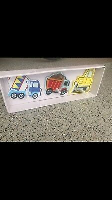 Dump Trucks Construction Wooden Wall Hanging Hooks Boys Nursery Kids Room