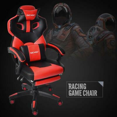 Racing Computer Gaming Chair Office Desk Seat High Back Leather Swivel Footrest