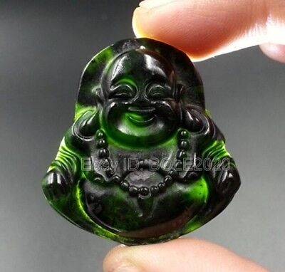 Chinese Natural Black Green Jade Carved Laughing Buddha Lucky Pendant + Necklace