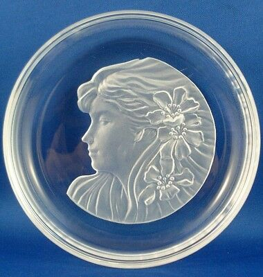 Rare Vintage HOYA 1950 CRYSTAL Japan HAWAIIAN LADY Champagne Wine bottle coaster