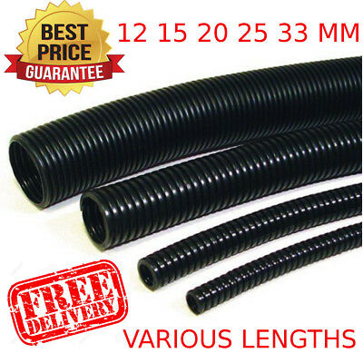 Black Spiral Conduit Non Split Tube 15 MM Pull Wire Cable Tidy TV Audio BEST HQ