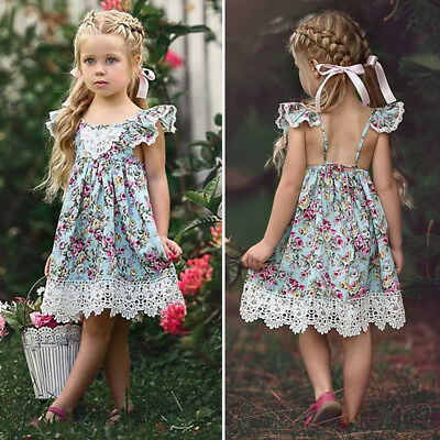 AU Kids Baby Flower Girl Dress Lace Floral Tulle Party Bridesmaid Dress Sundress