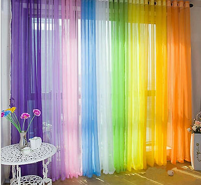 1*2mClear Door Window Tulle Voile Curtain Drape Panel Sheer Valances Home Decor
