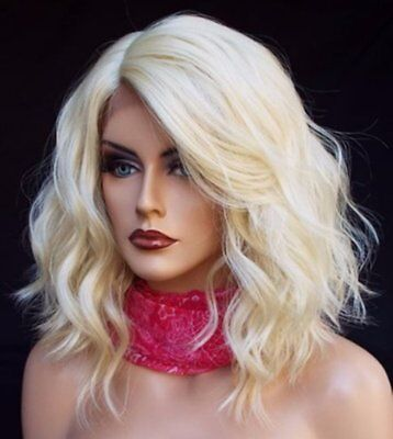 Women Lace Front Wig Short Medium Bob Blonde Wavy Synthetic Hair Wig Baby Hair