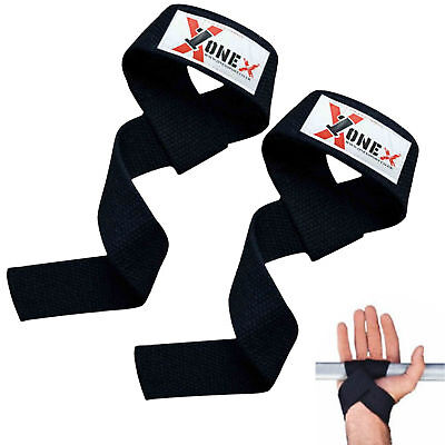 Onex Power Weight Lifting Wrist Wraps Supports Gym Training Fist Straps BLACK
